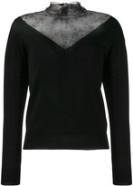 RED Valentino lace panel V-neck jumper
