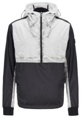 Water-repellent half-zip jacket with seasonal motif