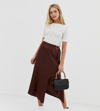 Miss Selfridge wrap front midi skirt in chocolate jacquard