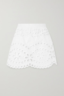 RED Valentino Layered Broderie Anglaise Cotton Shorts - White