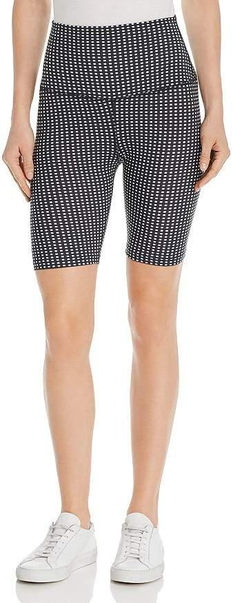 LnA Cher Grid-Print Bike Shorts