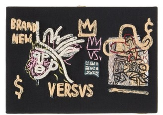 Olympia Le-Tan Basquiat 'versvs'-embroidered Book Clutch - Black Multi
