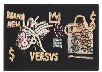 Olympia Le-Tan Basquiat 'versvs'-embroidered Book Clutch - Womens - Black Multi