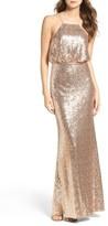 LuLu*s Women's Strappy Sequin Blouson Gown
