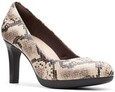 Clarks Adriel Viola Leather Snakeskin-Embossed Pump