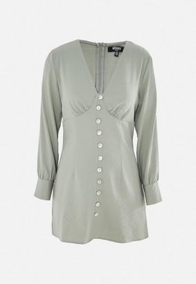 Missguided Petite Sage Button Front Shirt Dress