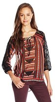 Miss Me Junior's Lace Graphic Quarter Sleeve Top
