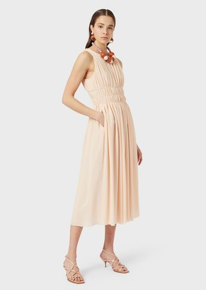 Emporio Armani Draped, Double Silk Georgette Long Dress