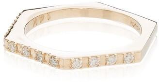 Loren Stewart 14kt Gold Hexagon Diamond Ring