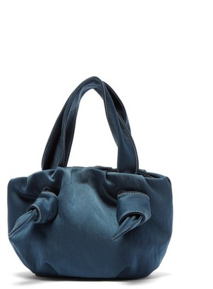 STAUD Ronnie Topstitched Knotted Sateen Bag - Blue