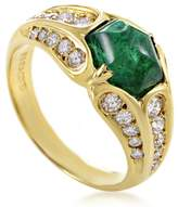 Faraone Mennella 18K Yellow Gold 0.70ct Diamond & 2ct Emerald Ring Sz 8