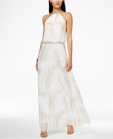 MSK Metallic-Print Pleated Blouson Gown