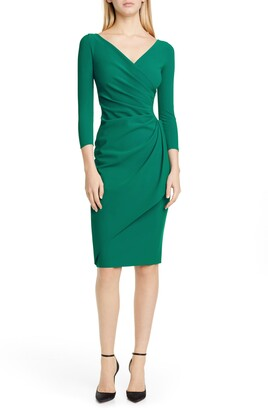 Chiara Boni Charisse Ruched Long Sleeve Cocktail Dress