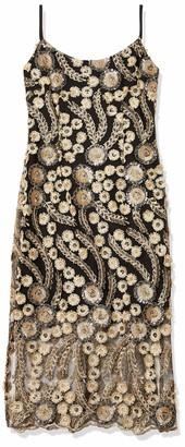 Bebe Women's 3D Gold Flower Lace Midi Dress