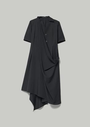 Yohji Yamamoto Women's Gabardine Asymmetric Drape Dress in Black Size 2