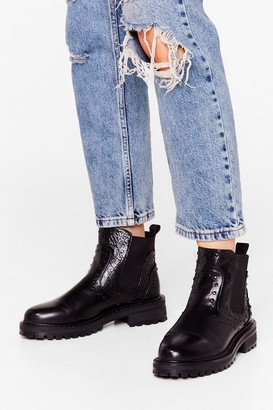 Nasty Gal Womens Get Low Faux Leather Pull-On Boots - Black