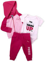 Puma Newborn Girls) 3-Piece Pink Hoodie, Bodysuit & Sweatpants Set