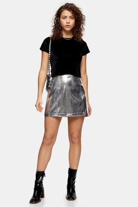 Topshop Womens Petite Silver Pu Mini Skirt - Silver