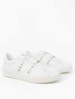 Valentino White Leather Rockstud Sneakers