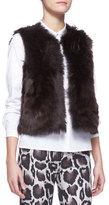Paule Ka Reversible Shearling Fur/Leather Vest, Brown