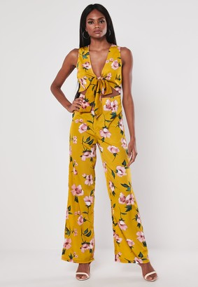 Missguided Yellow Floral Print Wide Leg Jumpsuit