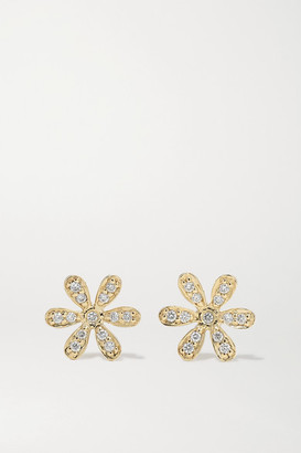 Sydney Evan Baby Daisy 14-karat Gold Diamond Earrings - one size