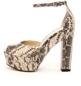 KORS Hannon Snakeskin Ankle Strap Platform Sandal