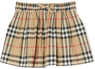 BURBERRY KIDS Check-Print Gathered Shorts