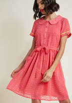 Darling in Dots Shirt Dress in Punch in S - Short Sleeve Knee Length by ModCloth