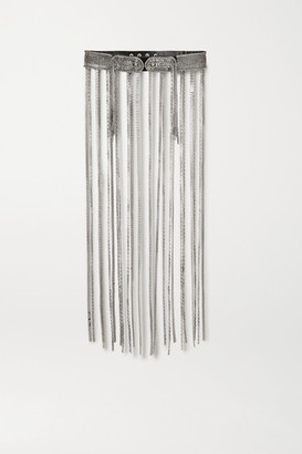 Christopher Kane Chain-embellished Leather Waist Belt - Silver