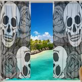 CoolPrintAll Sugar Skull Window Sheer Curtain Panels, Christmas Decor Window Gauze Curtains Living Room Bedroom Kid Office Window Curtain 55x84 inch Two Panels Set