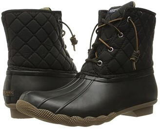Sperry Saltwater Quilted Nylon (Black) Women's Lace-up Boots