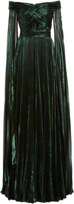 ZUHAIR MURAD Off-The-Shoulder Metallic Silk-Blend Plisse Gown