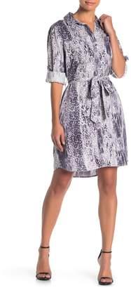 Velvet Heart Anita Roll Tab Leopard & Snake Print Shirt Dress