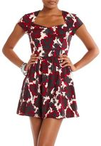 Open Back Floral Skater Dress