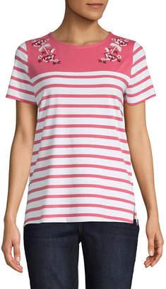 ST. JOHN'S BAY Womens Round Neck Short Sleeve T-Shirt