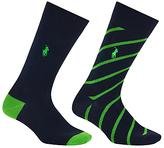 Polo Ralph Lauren Diagonal Stripe Socks, Pack Of 2, Black/green
