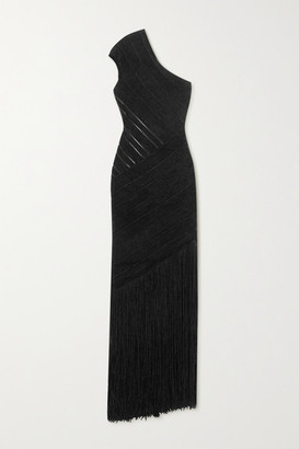 Herve Leger One-shoulder Fringed Velour Bandage Gown - Black
