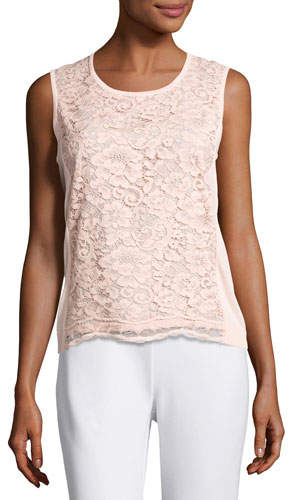 Joan Vass Scoop-Neck Lace Shell, Light Pink, Plus Size