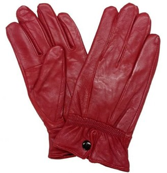 "Lorenz Ladies Quality Soft RED Leather Gloves with PRESTUD Fastening (Small - 6.5"")"