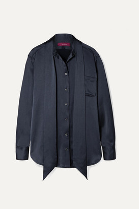 Sies Marjan Rae Pussy-bow Textured-satin Shirt - Midnight blue