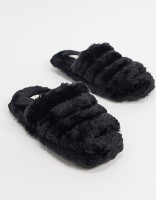 Truffle Collection faux fur slippers in black