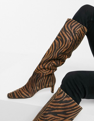 ASOS DESIGN Colette premium leather mid-heeled pull-on knee boots in tiger