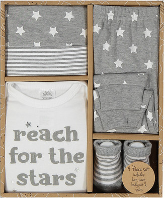 Baby Essentials Boys' Infant Bodysuits Grey - Gray 'Reach for the Stars' Bodysuit Set - Infant
