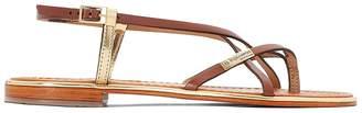 Les Tropéziennes Monaco Leather Flat Sandals with Cross-Strap