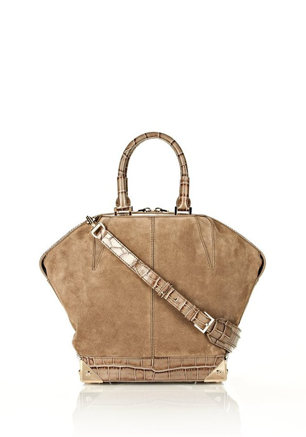 Alexander Wang Small Emile In Horn Croc Print Suede With Nickel