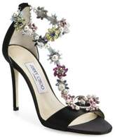 Jimmy Choo Reign Crystal-Embellished Satin T-Strap Sandals