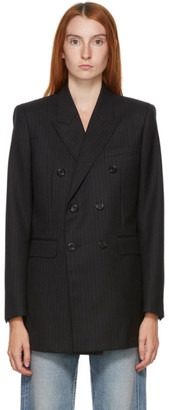 Saint Laurent Black Wool Pinstripe Blazer