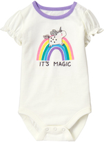 Gymboree White Rainbow Unicorn 'It's Magic' Bodysuit - Infant