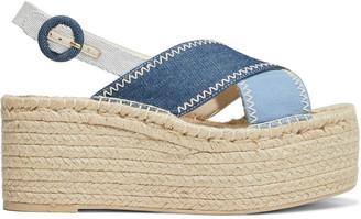 Alice + Olivia Fayen Color-block Denim Espadrille Platform Sandals